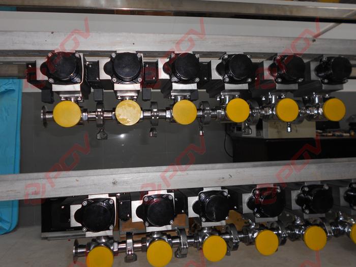 卫生级气动三通球阀用于纺织印染