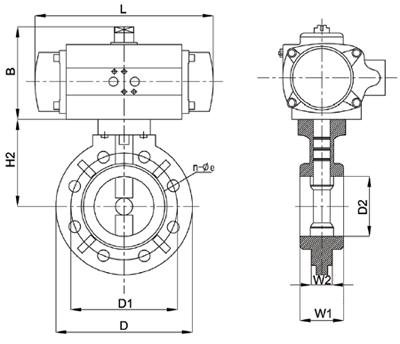 PVC气动蝶阀尺寸图