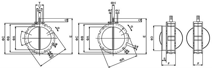 气动粉体蝴蝶阀-水泥、粉体行业气动阀 概述 气动粉体蝴蝶阀是专门用于粉体/颗料物料工业产品,蝶板内衬耐磨分子材料,与耐磨密封件配合使用,适用于重力落料和气体输送的粉体/颗料物料处理系统。安装于料斗、筒仓、螺旋输送机出口。 阀 体 公称通径:DN100-DN400 阀体材质:压铸铝合金 连接方式:双法兰、单法兰(配伸出连接环用以安装软套管) 压力等级:PN1.