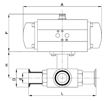 卫生级气动三通球阀外形尺寸图