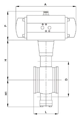对夹式气动V型球阀尺寸图