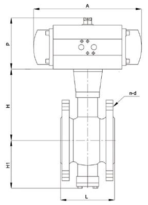 法兰气动V型球阀尺寸图