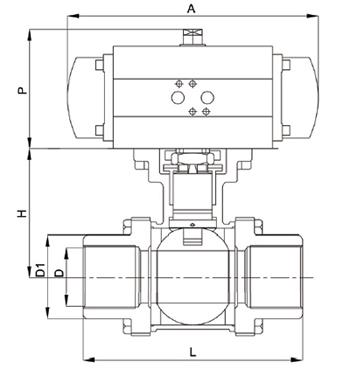 气动三片式螺纹球阀尺寸图