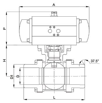 气动三片式对焊球阀尺寸图