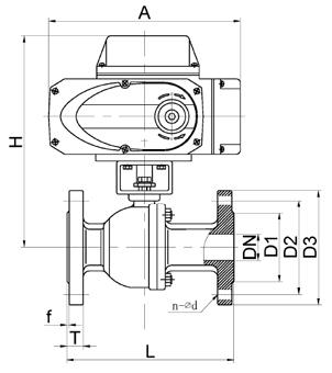 电动球阀尺寸图