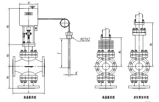 电动温控阀三通尺寸图图片