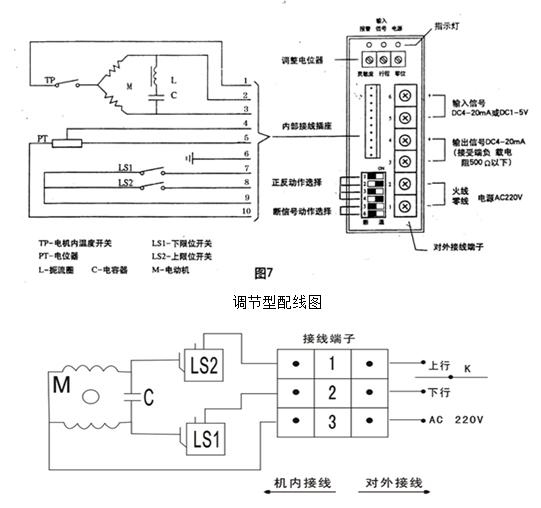 电子式电动调节阀接线图图片