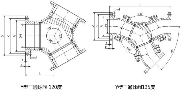 Y型三通球阀结构
