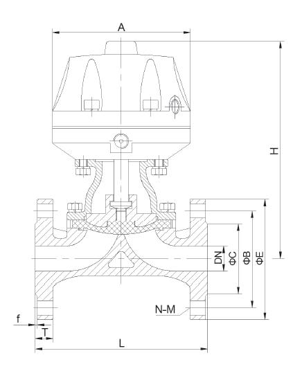 衬胶气动隔膜阀尺寸图