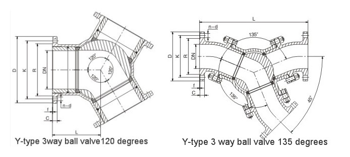 120 Degrees Y Type Pneumatic Ball Valve
