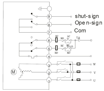 ac380v three-phase power supply wiring diagram with passive signal feedback