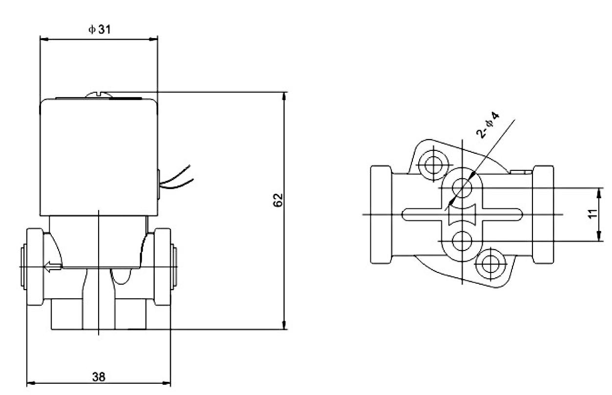家用饮水机电磁阀尺寸图