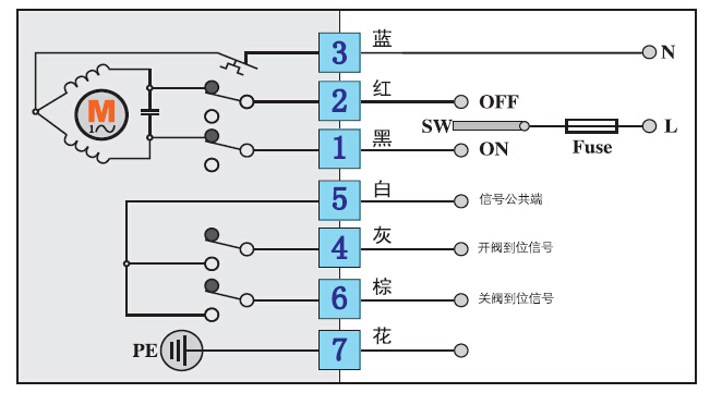 AC220V电动执行器接线图20NM