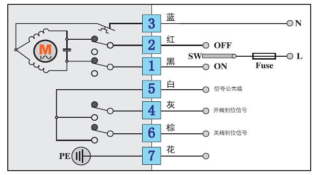 pvc电动阀接线图图片
